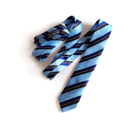 "Blue Striped Linen Necktie. ""Atwater"" woven silk blend tie."