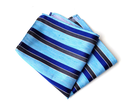 "Blue Striped Linen Pocket Square. ""Atwater"" woven silk blend."