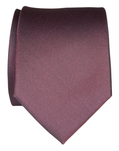 Aubergine Shot Necktie. Dark Purple Solid Color Woven Silk Tie, No Print