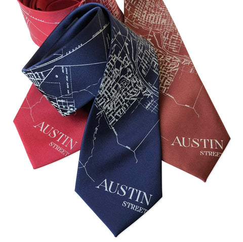 Austin Texas Map Necktie, Texan City Print Tie
