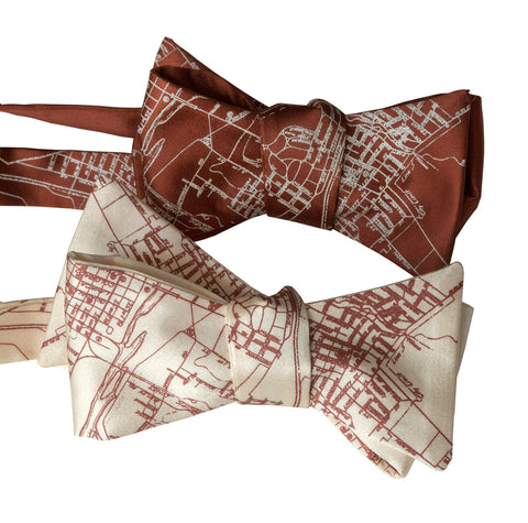 Austin Texas Map Bow Tie, Texan City Print Tie