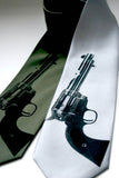 Gun Necktie. Black on olive, silver.