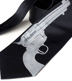 silver and black gun neckties