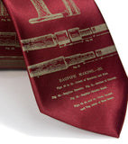 Bagpipes Necktie. Antique brass on burgundy