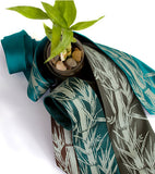 Bamboo Print Necktie. Sage on dark brown, emerald, olive.