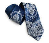 French blue bandana print necktie.