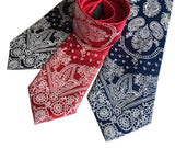 bandana print neckties by cyberoptix: black, red, navy.