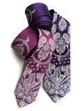 purple bandana print neckties: spiced wine & eggplant