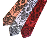 cowboy bandana print neckties: dark salmon, white, rust.