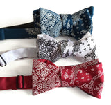red white and blue bandanna print bow ties
