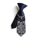 navy blue clip on bandanna tie