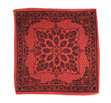 rust red bandana print pocket square