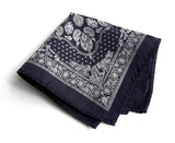 navy blue bandana print pocket square