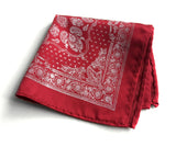 red bandana print pocket square