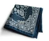 blue bandana print pocket square