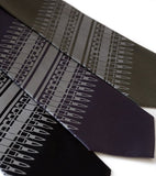Ammo Neckties. Dove grey on black, charcoal, olive.