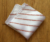 white baseball pocket square
