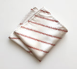 baseball pocket square, platinum