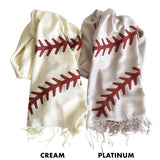 Baseball Stitching Scarves. Silkscreened cream and platinum pashminas, by Cyberoptix