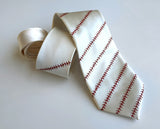 cream Baseball Stitching necktie