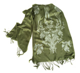 Moss green Hops and Wheat pashmina scarf, by Cyberoptix
