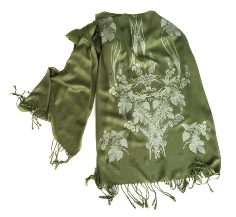 Beer! Hops & Wheat Print Pashmina Scarf