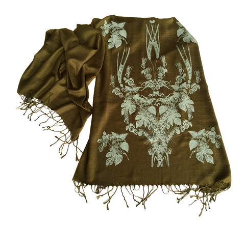 Beer Scarf. Hops & Wheat linen weave pashmina