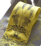 Custom Beer ties. Dove gray ink on lemon, lemon ink on silver