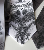 Hops and Wheat neckties. Dark gray ink on silver, white