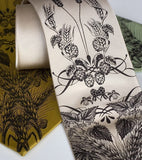 Hops and Wheat neckties. Espresso ink on mustard, champagne, sage