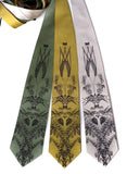 Hops and Wheat neckties. Espresso ink on sage, mustard, champagne