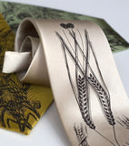 Beer Necktie. Hops & Wheat Print Silk Tie