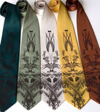 Beer ties. Espresso print on emerald, sage, cream, mustard, cinnamon.