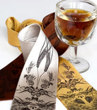 Hops and Wheat neckties. Espresso ink on med. brown, cream, mustard