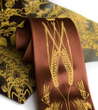 Hops and Wheat neckties. Mustard ink on cinnamon, dk. brown, olive