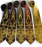 Hops and Wheat neckties. Mustard ink on black, dark brown, olive, med. brown, mustard