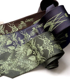 Beer lover necktie: Apple-lime ink on dark brown, charcoal, olive.
