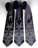 Hops and Wheat neckties. Dove gray ink on black, navy, charcoal