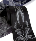 Craft Beer Necktie. Dove gray print on black, charcoal, navy.