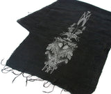 Pale grey ink on black silk scarf.