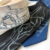 Belle Isle Map Neckties, Detroit Printed Ties. Cyberoptix
