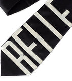 Belle Isle Necktie, ivory-cream on black