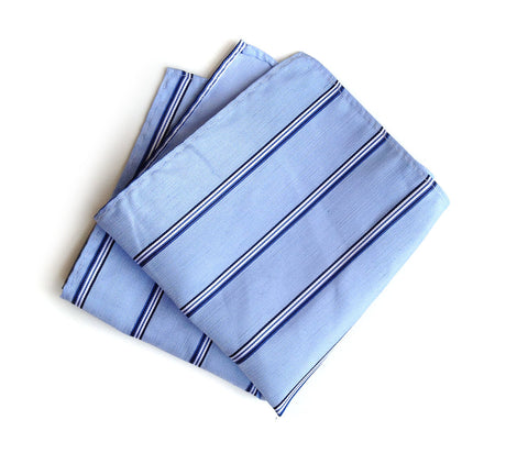 "Light Blue Striped Linen Pocket Square. ""Belle Isle."""