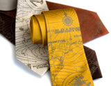 Bermuda Triangle print tie. Antique brass on mustard