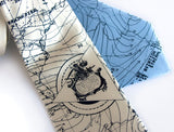 Bermuda Triangle Necktie. Navy on ivory, sky blue silk