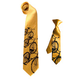 Mustard father and son bicycle neckties