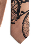 Burnt Orange Bicycle Print Linen Necktie. Triple Cruiser Bike Tie, by Cyberoptix