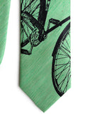 Green Linen Bike Print Tie, by Cyberoptix