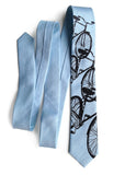 Bicycle Print Linen Necktie. Triple Cruiser Bike Tie