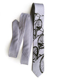 Silver Bicycle Print Linen Necktie. Triple Cruiser Bike Tie, by Cyberoptix
